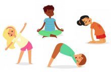 Image of 4 children performing different yoga poses