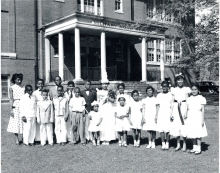 Students posed in front of Military Road School