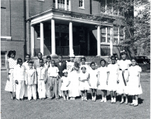Students in front of Military Road School