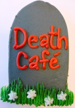 Tombstone cookie with red lettering