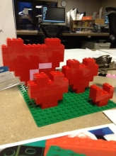 LEGO Hearts on display