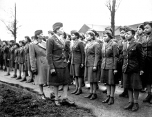 Black women in army being inspected