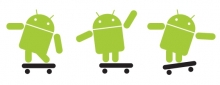 Android logos on skateboards
