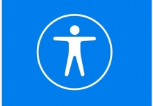 This is a picture of the Apple accessibility logo, a person icon with arms out to the side inside of a circle