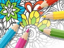 Coloring page with colored pencils