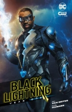 A black man wearing a black superhero suit