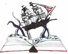 Ship sailing out of book - the Beyond the Book logo