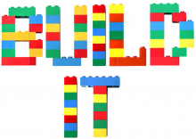 The words Build It spelled out in lego letters