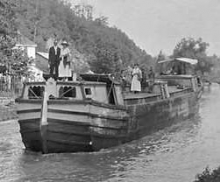 Antique photo of boat on C&O Canal