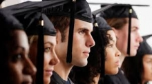 Students in graduation robes and hats