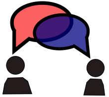 Photo of people speaking with conversation circles