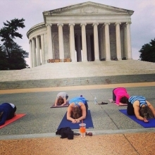 Yoga at Lincoln Memorial