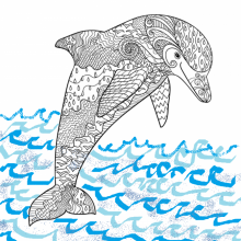 Coloring sheet of a dolphin