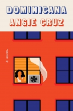 Dominicana book cover, image of red building with blue windows and woman with fan blowing a white curtain