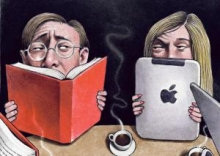 Man reading book opposite woman reading on an e-book.