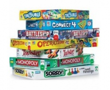 Board games stacked on top of one another