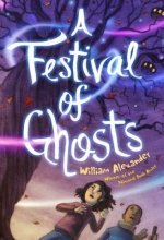 A Festival of Ghosts cover : A girl and boy in fall clothing stand in front of a gnarled and leafless tree.