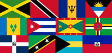 Collage of flags from Caribbean countries
