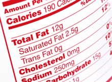Nutrional label in red and white