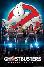 Ghostbusters (2016) film poster, showing the four main characters and Kevin.