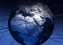 An Afrocentric image of a globe with dynamic lines to reflect a world of information sharing