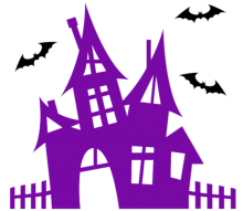 purple haunted house with bats flying around