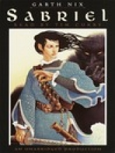 Sabriel cover in which a pale young woman with long black hair in black and blue fantasy clothes wields a bandolier of bells and a sword.