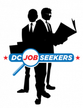 Silhouettes of two men in business suits with text DC Job Seekers