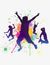 colorful silhouettes of people dancing