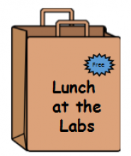"lunch box with text ""lunch at the labs"""