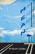 "Image of ""Mean"" book cover featuring a blue sky withclouds and shadow of the letters that spell out ""mean"" onto an empty parking lot"