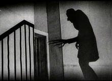 Image still of the Count's shadow from the movie Nosferatu