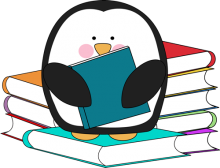 Image of penguin with a pile of books