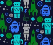 A fabric pattern of cartoon rockets and robots in shades of blue and green