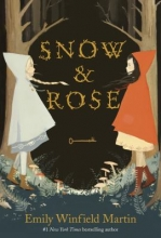 The cover of Rose and Snow. An illustration of two girls standing in front of each other with a key between them
