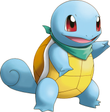 A blue turtle-looking creature named Squirtle looks to the right