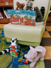 Stuffed animals at the library