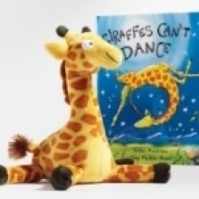 stuffed giraffe with book