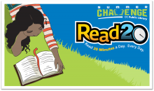 summer challenge logo of girl reading a book