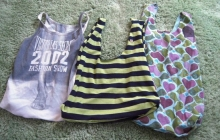 an image of three tote bags made from tank-tops and t-shirts