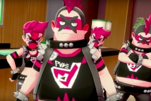 image features a squad of punk-rock dressed cartoon youths in pinks and blacks.