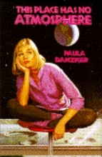 Cover of This Place Has No Atmosphere shows a girl wearing '80s fashion looking at the Earth from the moon.