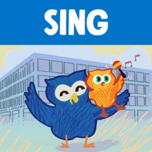 "Word ""Sing"" above image of cartoon owl holding baby owl shaking maraca in front of  Martin Luther King Library"