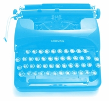 Aspiring Writers Circle blue typewriter.
