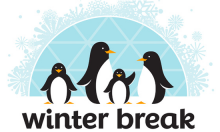 The words Winter Break beneath four cartoon penguins in front of a snowy igloo