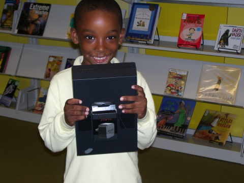 Jaden Morgan, winner of the Kindle Fire at the William O. Lockridge/Bellevue Library