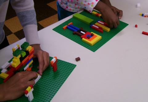 Lego Wars participants making plant-themed creations