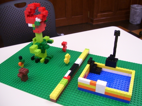 Lego Wars Creation: Plants vs. Zombies inspired observatory and mutant plants.