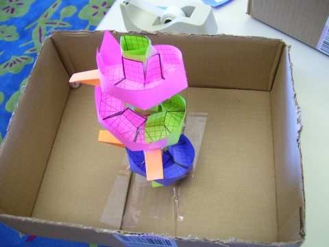 Picture of spiral paper rollercoaster