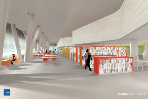 West End Library Interior Rendering